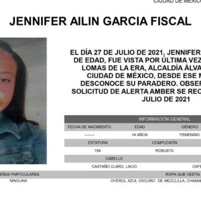 Activan Alerta Amber para localizar a Jennifer Ailin García Fiscal
