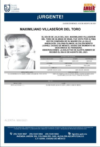 Activan Alerta Amber para localizar a Maximiliano Villaseñor del Toro.