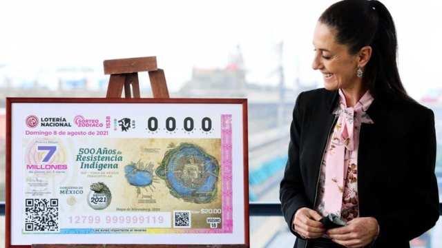 Claudia Sheinbaum, jefa de Gobierno de CDMX, presidió la develación del billete de la Lotería Nacional (Twitter: @Claudiashein)