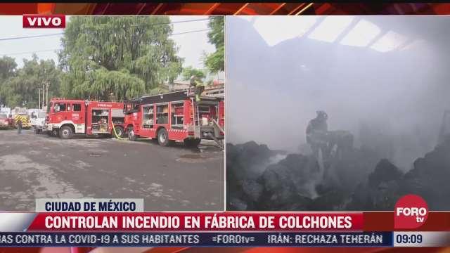 controlan incendio en fabrica de colchones en avenida vallejo