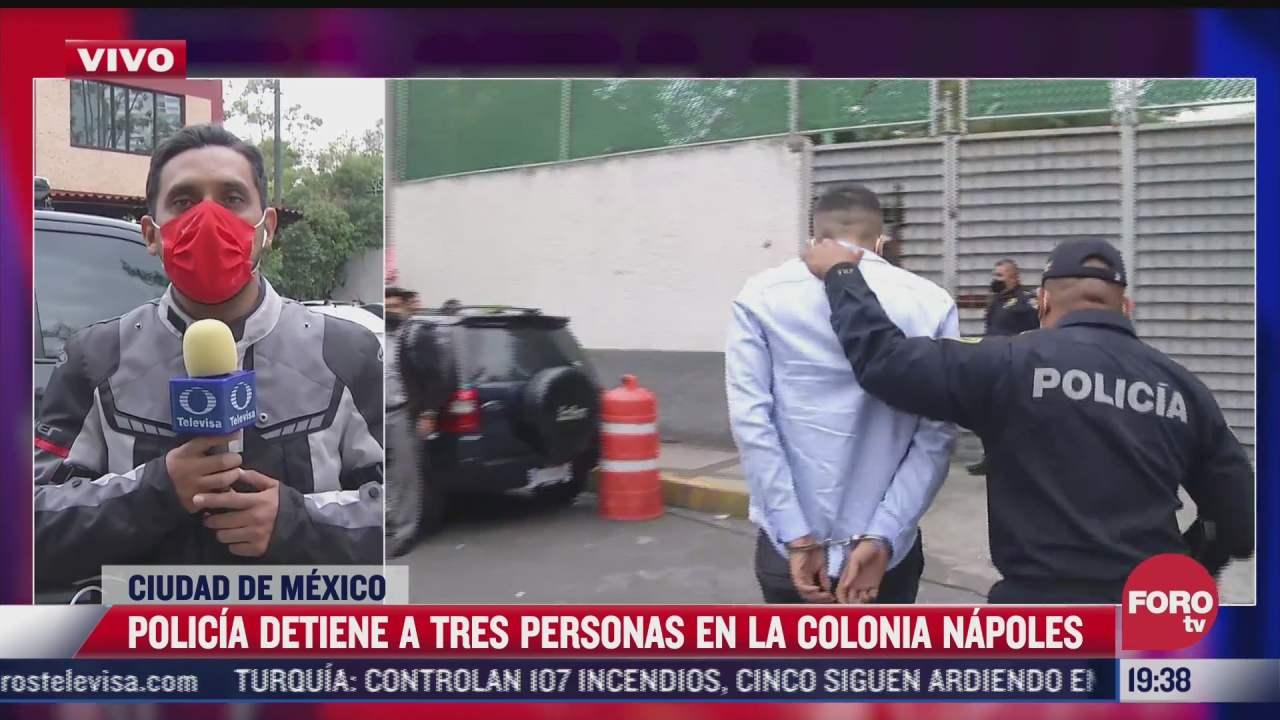detienen a tres presuntos narcomenudistas en la colonia napoles