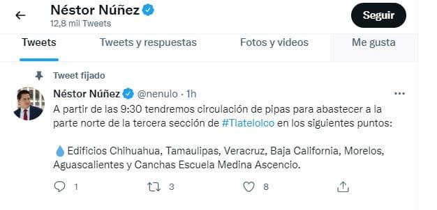 Néstor Núñez, alcalde de Cuauhtémoc, informó en su cuenta de Twitter que se pondrán en circulación de pipas de agua potable,(Foto: @nenulo)