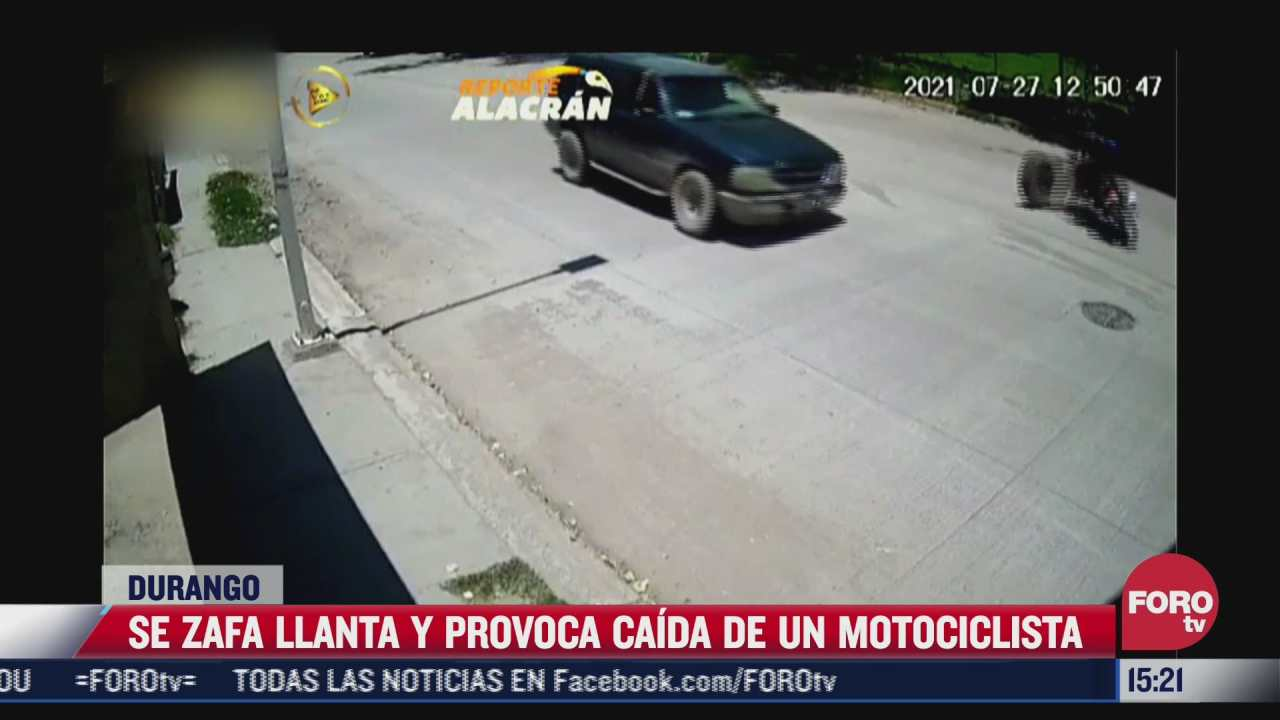 video llanta de camioneta golpea a motociclista