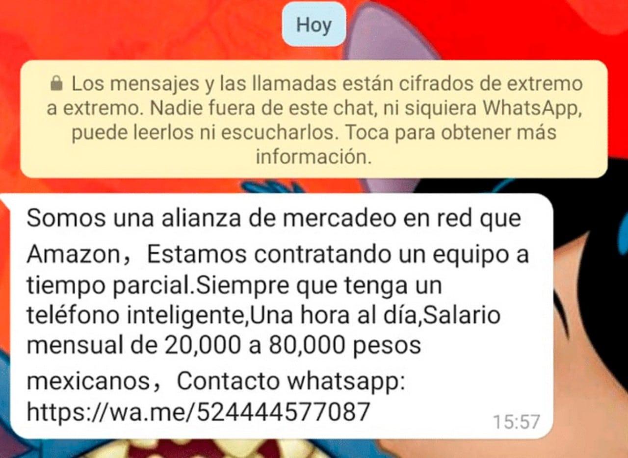 Falsa oferta de trabajo de Mercado Libre en WhatsApp