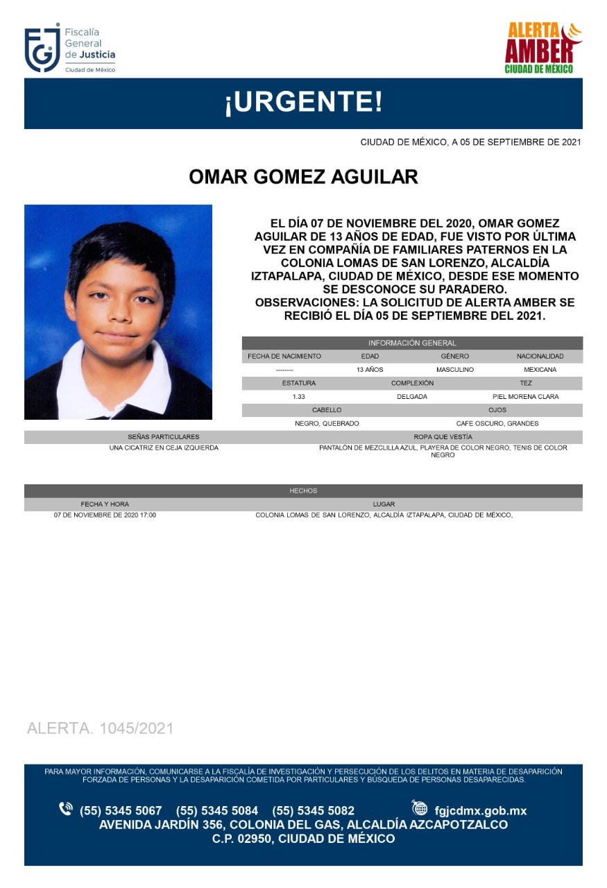 Activan Alerta Amber para localizar a Omar Gómez Aguilar