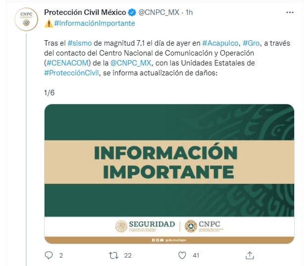 Protección Civil Nacional actualizó los daños provocados por el sismo de Guerrero. Fuente: Twitter @CNPC_MX