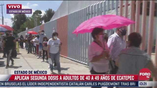 adultos de 40 a 49 anos reciben segunda dosis de vacuna covid en ecatepec estado de mexico