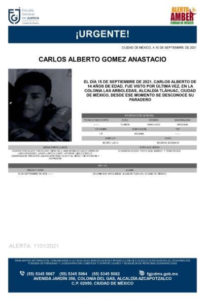 Activan Alerta Amber para localizar a Carlos Alberto Gómez Anastacio