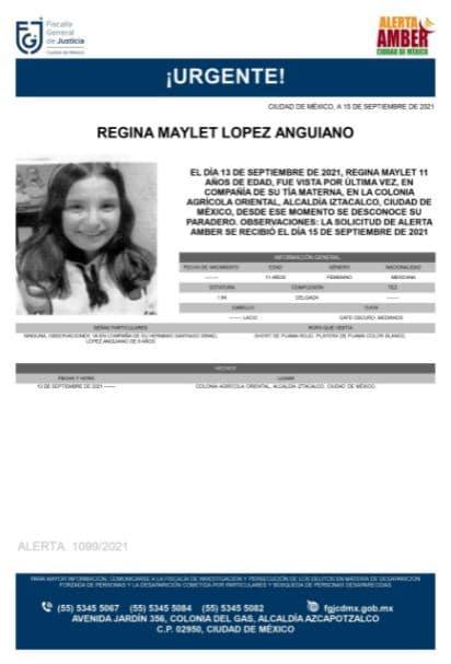 Activan Alerta Amber para localizar a Regina Maylet López Anguiano