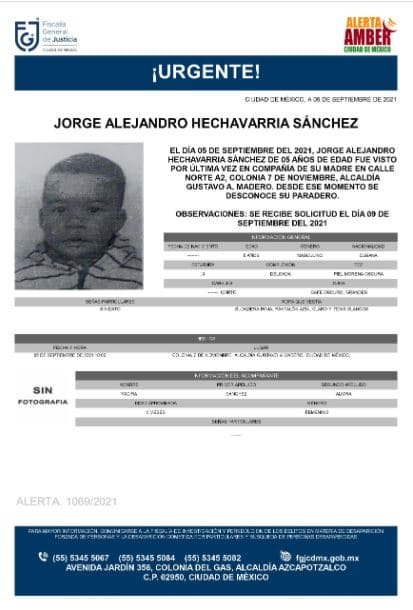 Activan Alerta Amber para localizar a Jorge Alejandro Hechavarria Sánchez