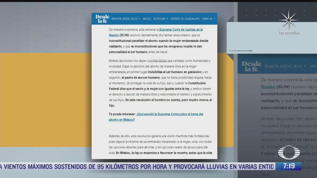 arquidiocesis primada de mexico critica decisiones de la scjn sobre el aborto