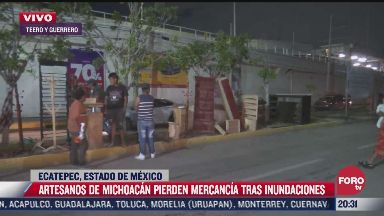artesanos de michoacan pierden mercancia tras inundaciones en ecatepec