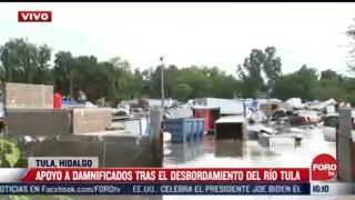 autoridades llevan viveres a afectados por inundaciones en tula hidalgo