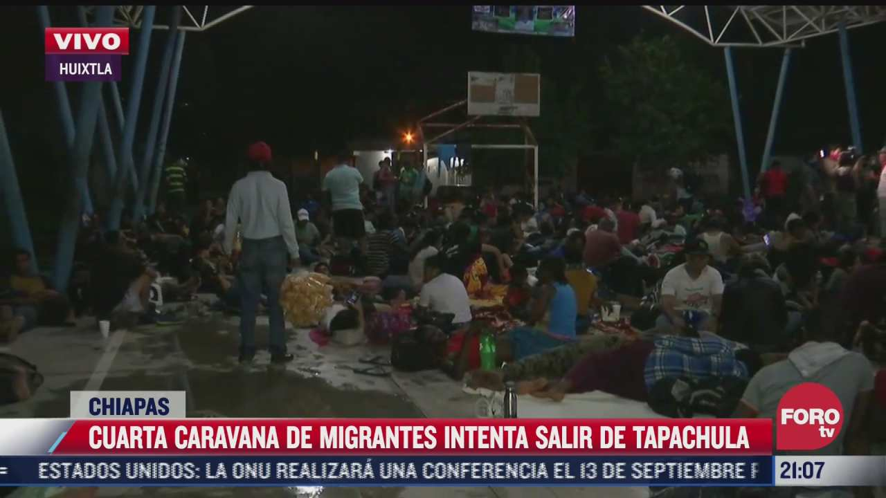 caravana de migrantes pernocta en huixtla chiapas