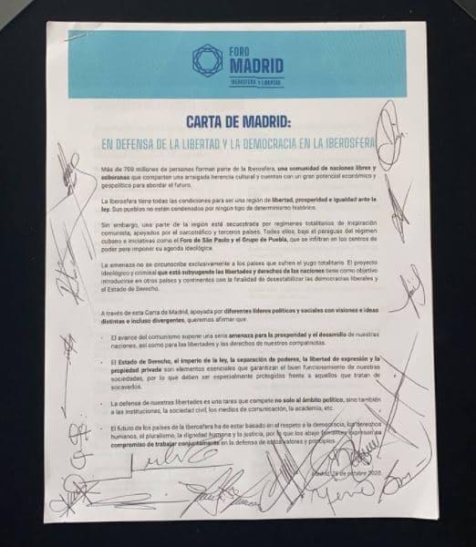 Legisladores mexicanos del PAN firmaron ayer jueves la denominada Carta de Madrid
