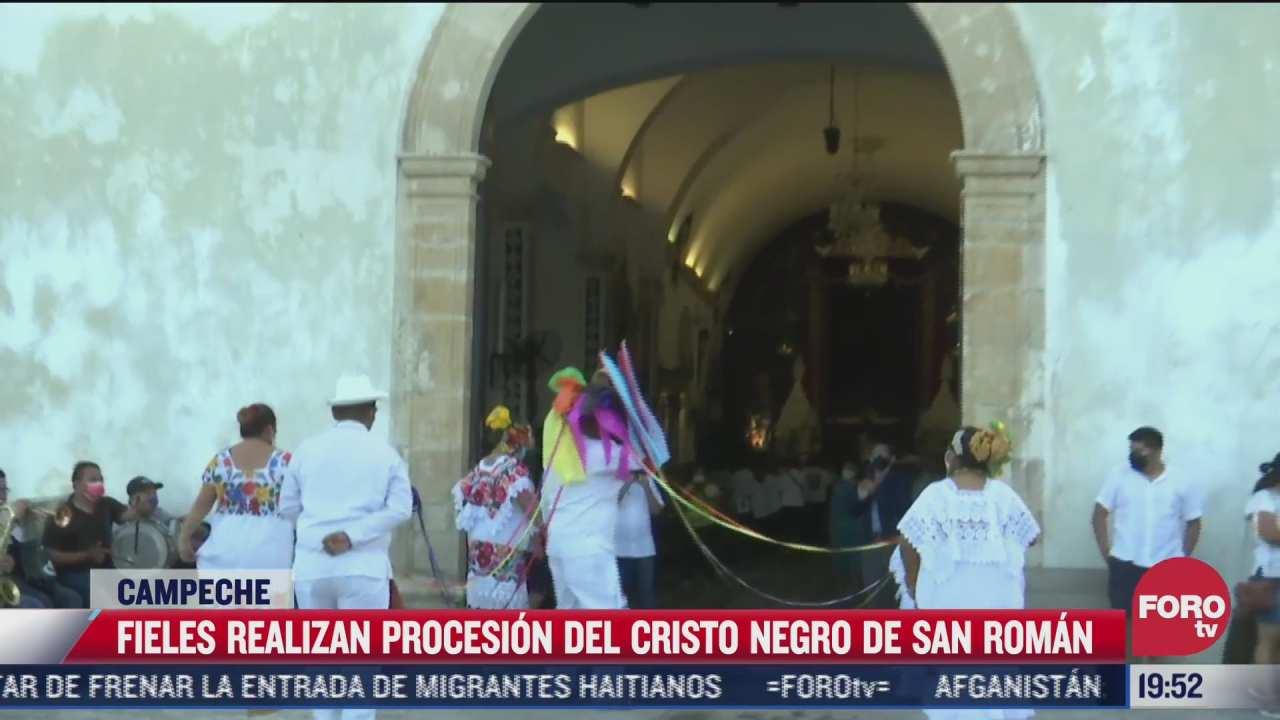 celebran al cristo negro de san roman en campeche