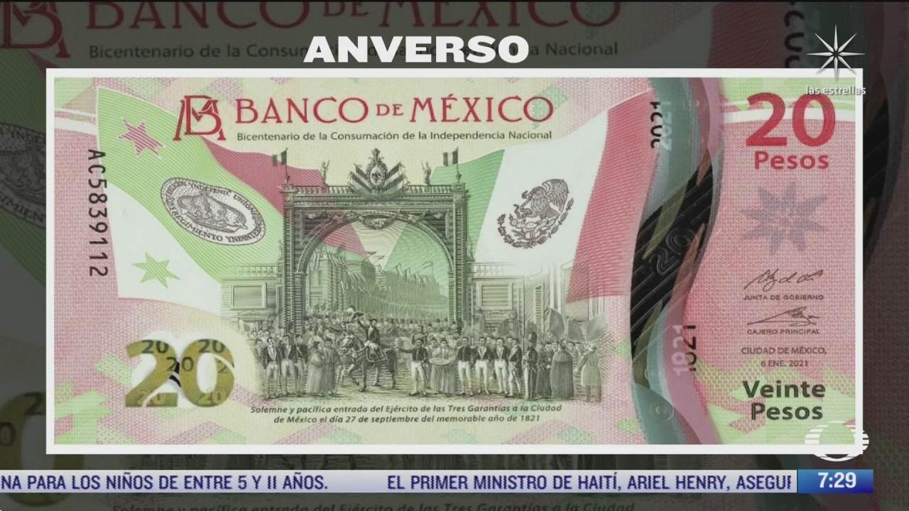 como es el nuevo billete de 20 pesos