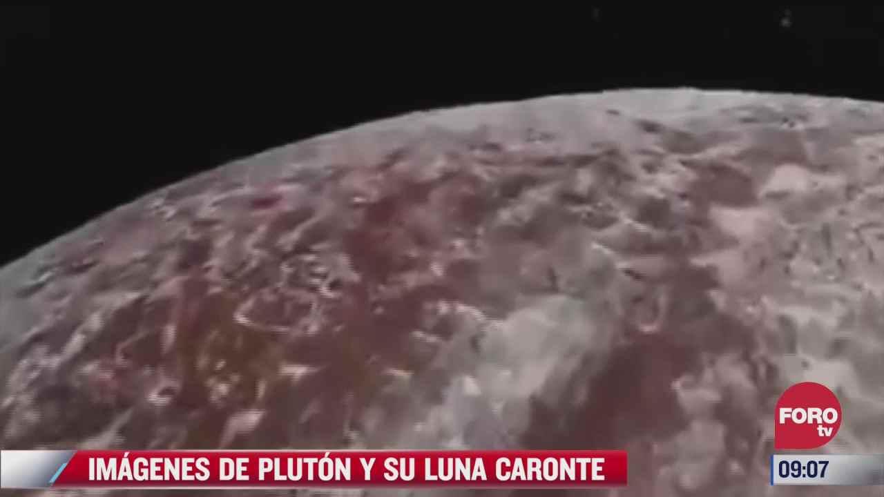 comparten imagenes de pluton y su luna caronte