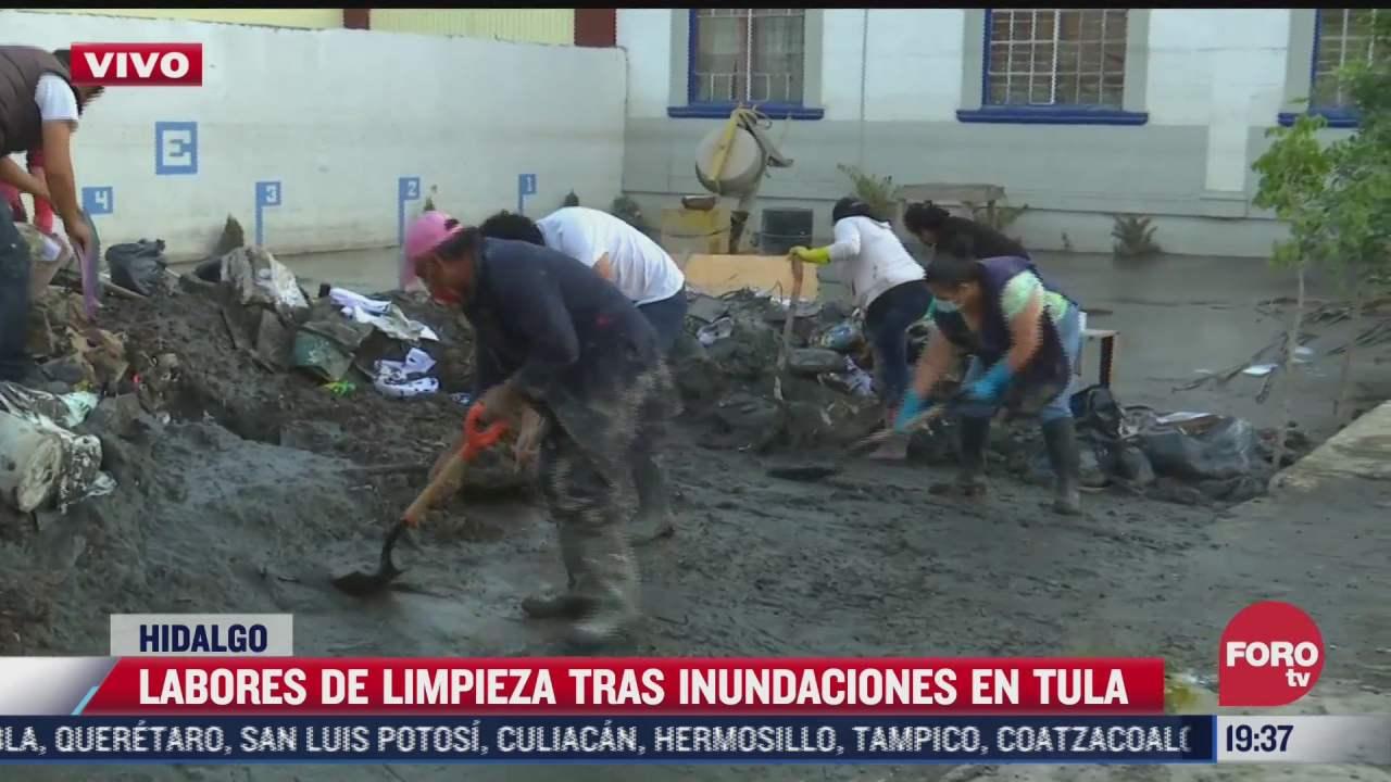 continuan labores de limpieza tras inundaciones en la universidad pedagogica de hidalgo