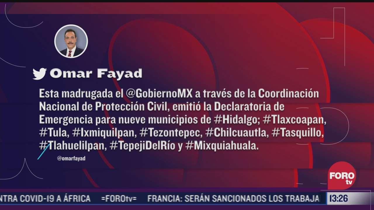 emiten declaratoria de emergencia para nueve municipios de hidalgo por lluvias