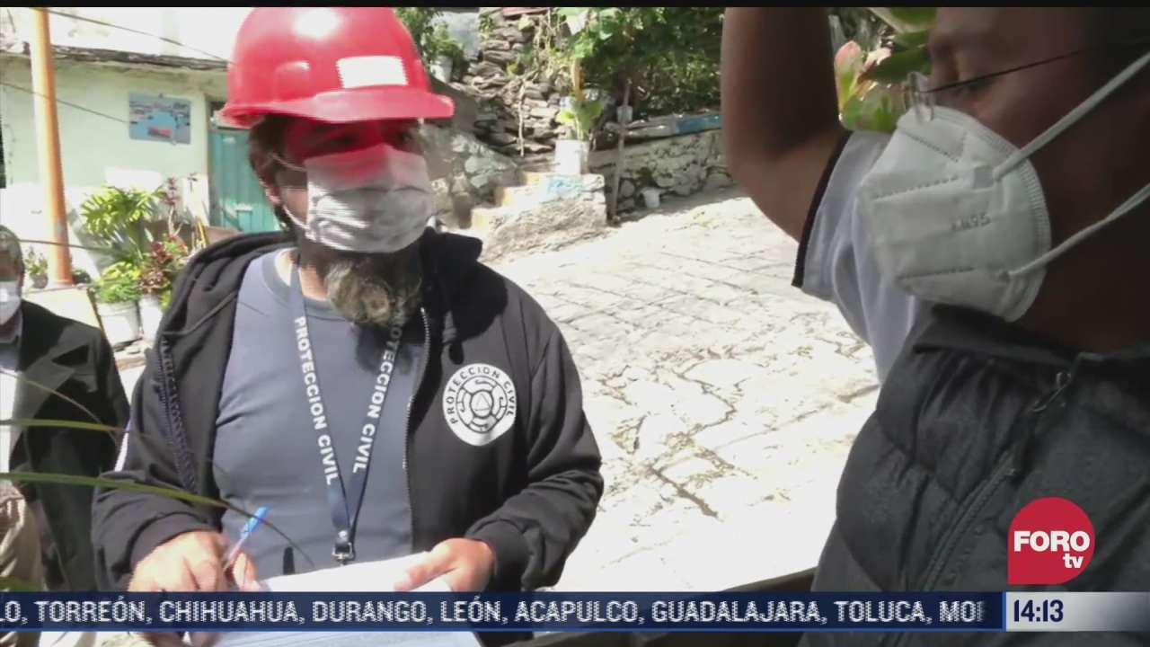Continúa desalojo de viviendas en zona del derrumbe del cerro del Chiquihuite