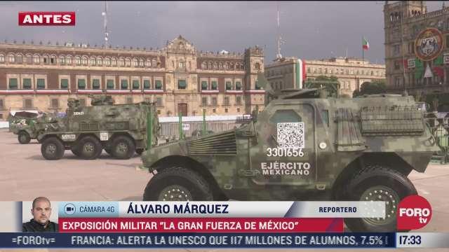 exposicion militar invade el zocalo capitalino