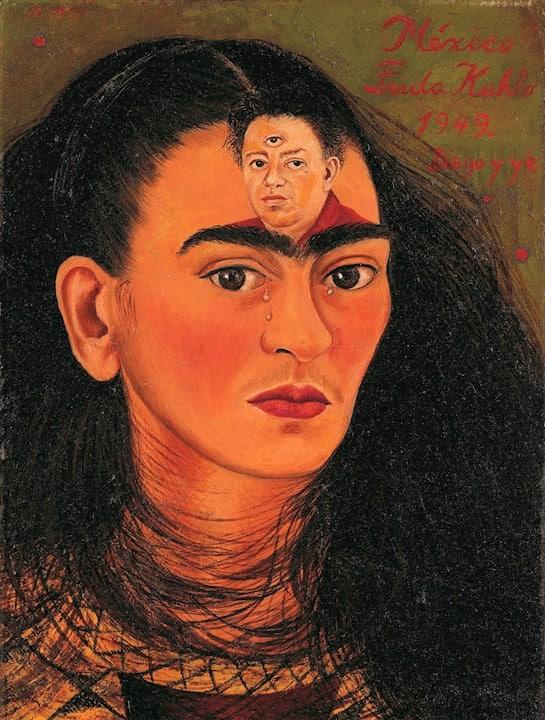 """La obra """"Diego y yo"""", un autorretrato de Frida Kahlo donde aparece su busto con una imagen de su marido, Diego Rivera, sobre la frente."""