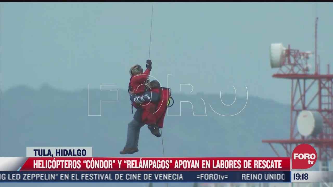 helicopteros de los agrupamientos condor y relampago rescataron a diversos ciudadanos en tula hidalgo