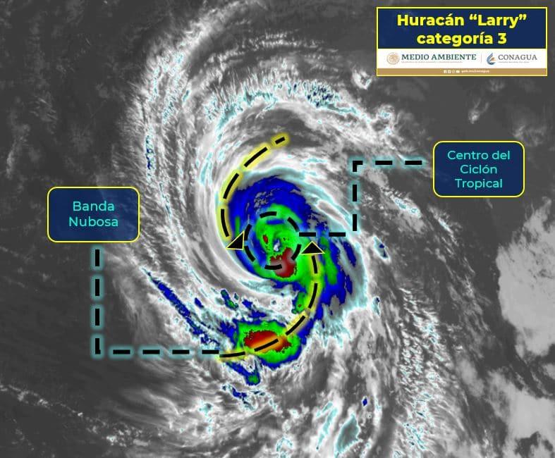 Huracán Larry se intensifica a categoría 3, muy lejos de territorio mexicano