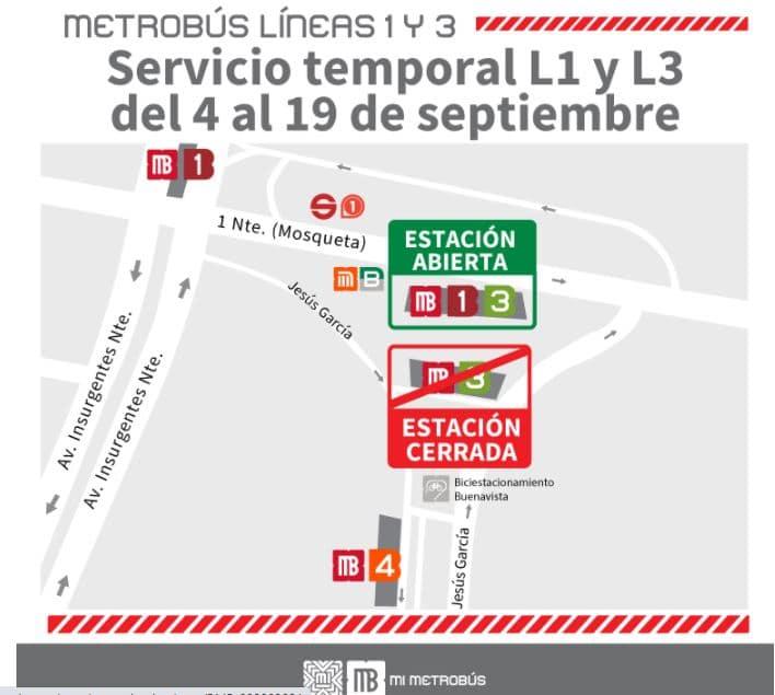 Semovi informó que estará cerrada la estación Buenavista del Metrobús, de la Línea 3