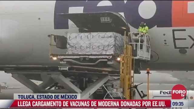 llega a mexico cargamento de vacunas covid de moderna donadas por eeuu