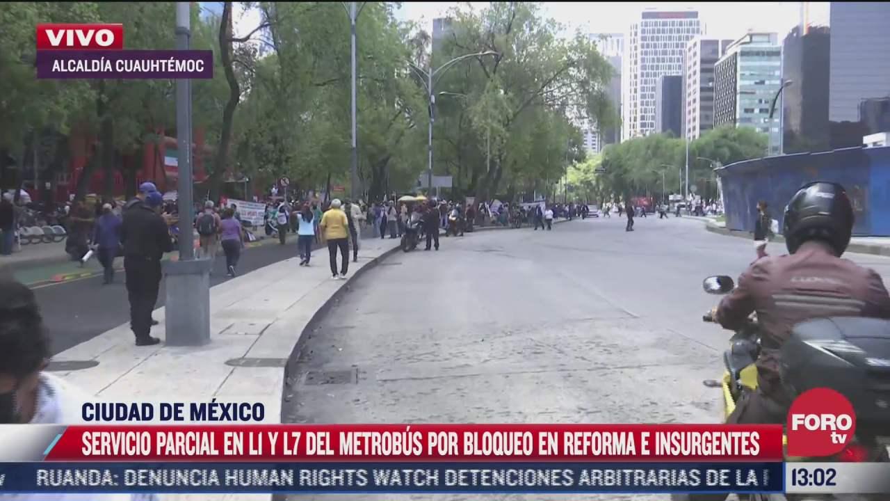 manifestantes de repliegan en carriles laterales de paseo de la reforma cdmx