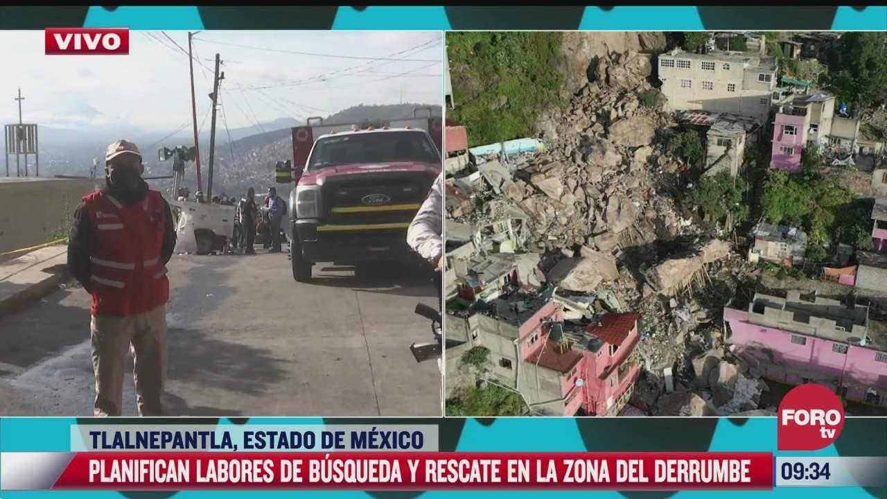 reanudan trabajos de busqueda y rescate en zona del derrumbe en cerro de chiquihuite