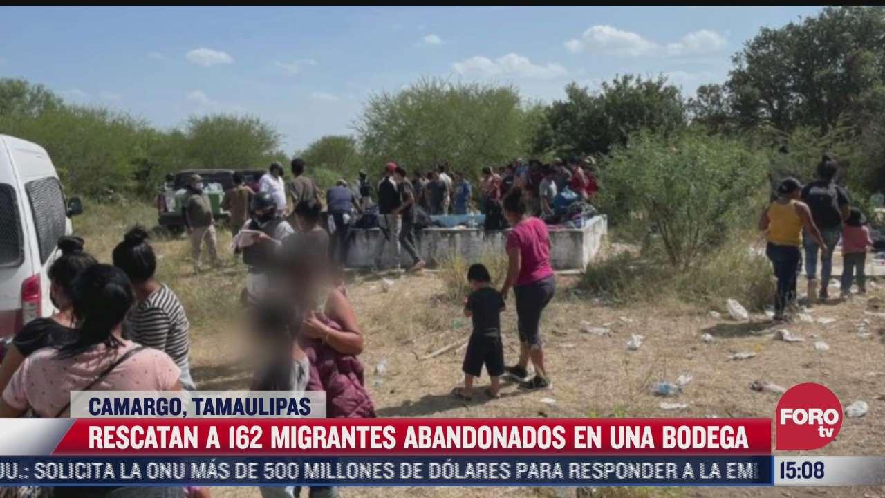 rescatan a 162 migrantes abandonados en camargo tamaulipas