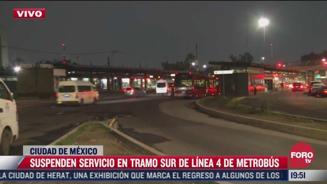suspenden servicio en ruta sur de la linea 4 del metrobus