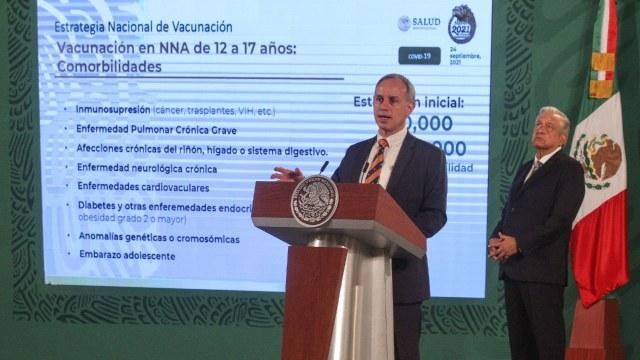Hugo López-Gatell, subsecretario de Salud, anuncia la vacunación covid con dosis de Pfizer, para adolescentes de 12 a 17 años con comorbilidades