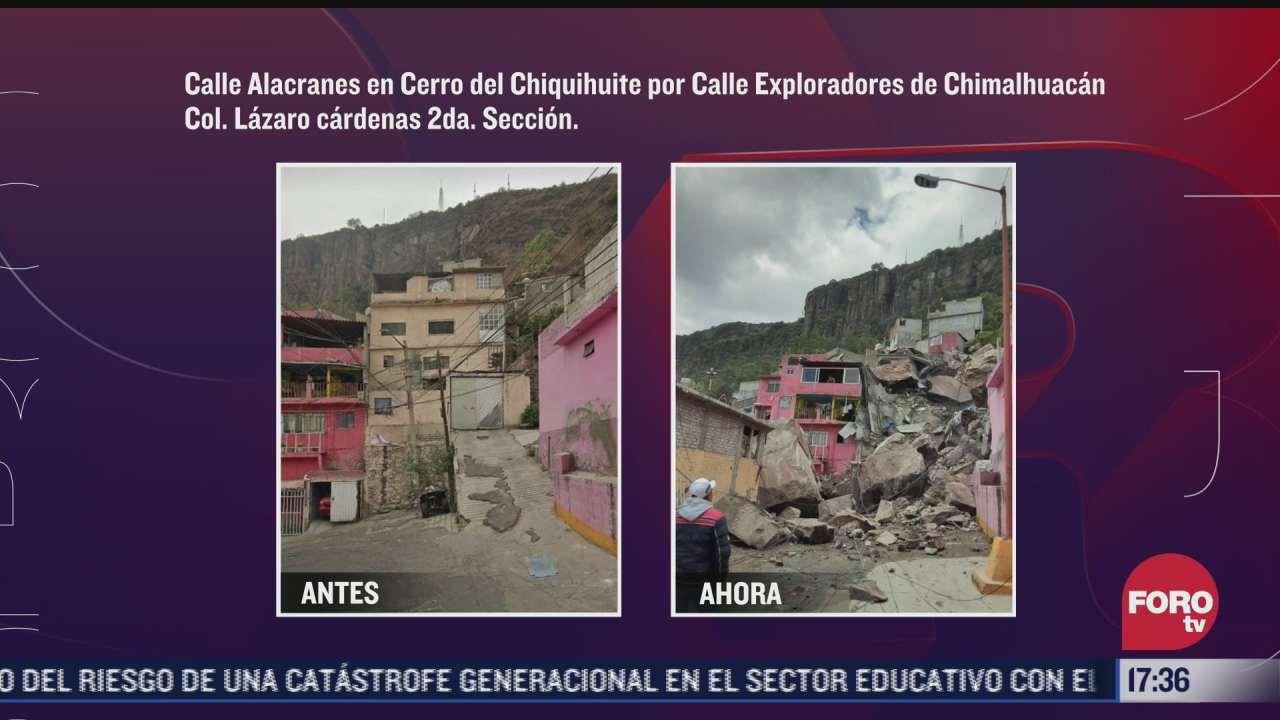 video antes y despues de la zona del desgaje del cerro del chiquihuite