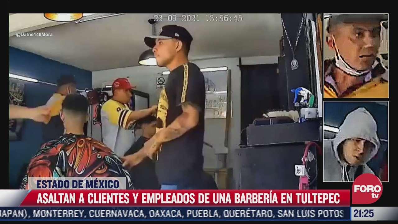 video asaltan a clientes y empleados de barberia en tultepec