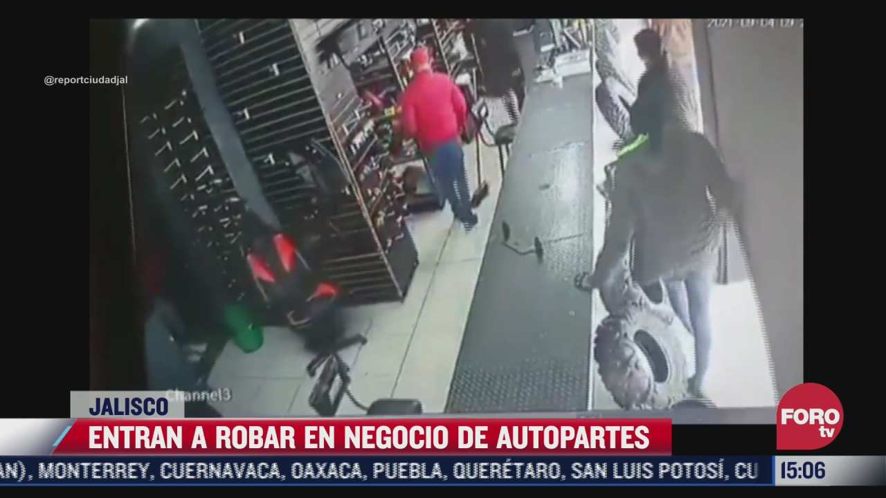 video entran a robar en negocio de autopartes en jalisco