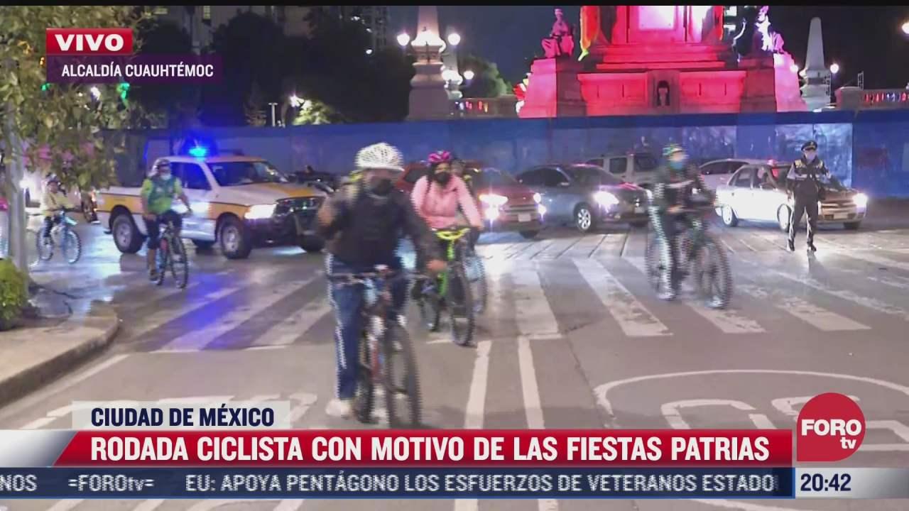 video realizan rodada ciclista en cdmx con motivo de las fiestas patrias