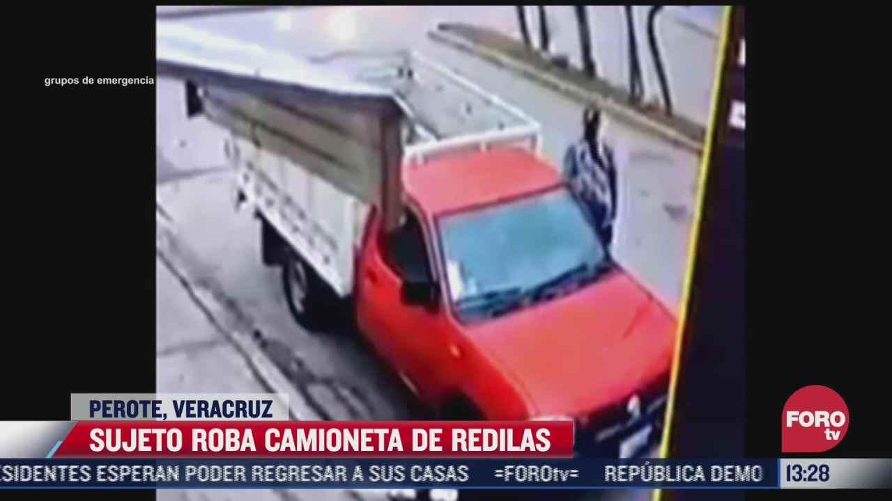 video sujeto roba camioneta de redilas en perote veracruz