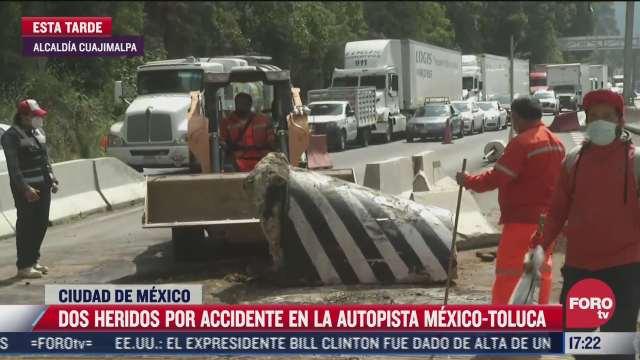 accidente deja dos heridos sobre autopista mexico toluca