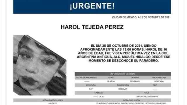 Activan Alerta Amber para localizar a Harol Tejeda Pérez