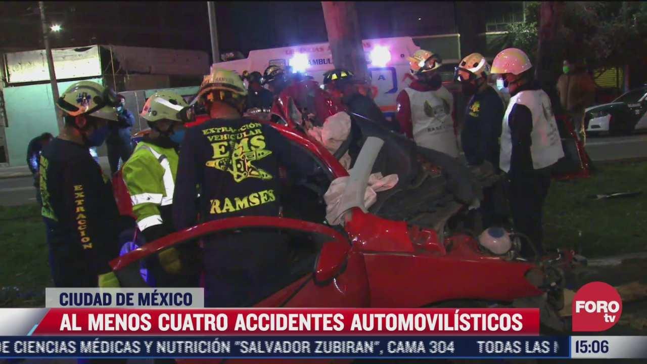 al menos 4 accidentes automovilisticos fuertes en cdmx