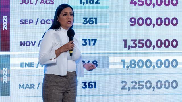 Ariadna Montiel Reyes durante la conferencia de prensa en Palacio Nacional