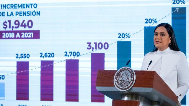 Ariadna Montiel Reyes, subsecretaria del Bienestar, durante la conferencia de prensa en Palacio Nacional