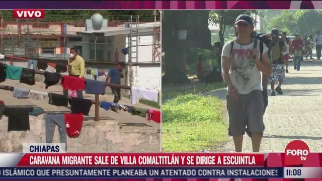 caravana migrante sale de villa comatitlan y se dirige a escuintla chiapas