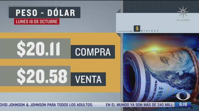 el dolar se vendio en 20 58 en la cdmx del 18 octubre