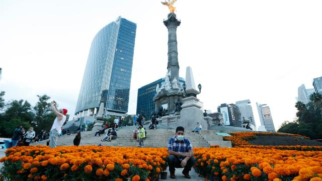 Un hombre se toma una fotografía con las flores de cempasúchil colocadas en el monumento del Angel de la Independencia (EFE)