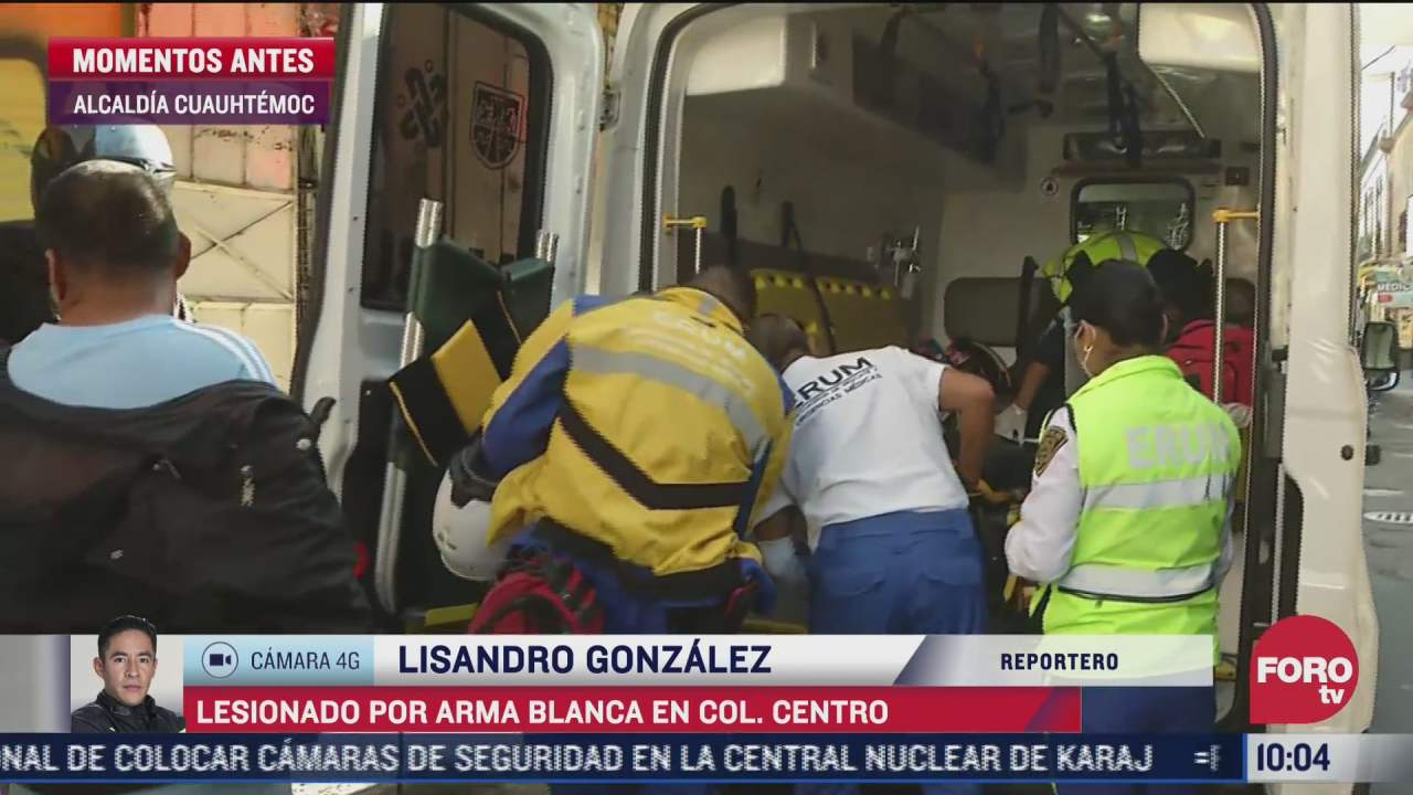 lesionado por arma blanca en intento de asalto en la colonia centro cdmx